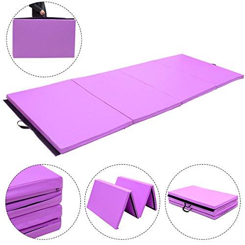 Exercise Mat 4'x10'x2 Gymnastics Purple Thick Folding Panel Aerobics Gym Fitness with Ebook