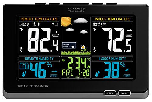 Wireless Atomic Weather Station - La Crosse Technology 308-1414MB-INT Wireless Color Weather Station with Mold Indicator, Black