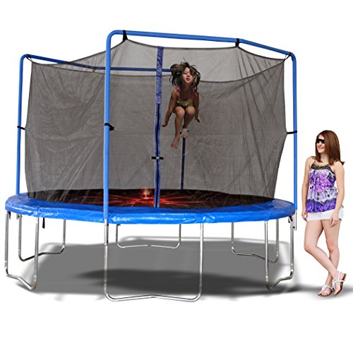 Trainor Sports 13-feet Round Trampoline Combo w/Enclosure and Flash Zone | Heavy Duty Safe Enclosed Backyard/Outdoor Trampoline for Kids with Jumping Mat and Spring Cover Padding