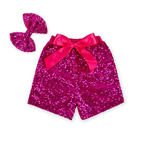 Toddler Baby Girls Short Sequin Bow Pants Girls Boutique Clothing with headband