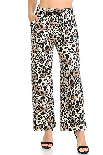 Auliné Collection Womens High Waisted Loose Wide Leg Drawstring Palazzo Pants - Brown Leopard ()