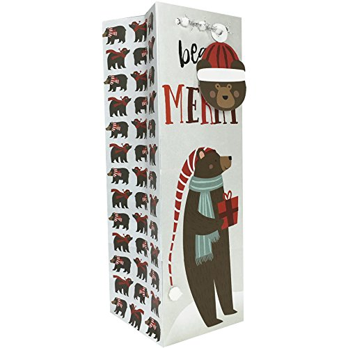 Price comparison product image Jillson Roberts 6-Count Christmas Wine and Bottle Gift Bags Available in 11 Designs, Beary Merry