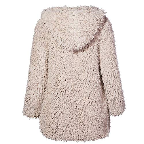 Winter Pullover Casual Coat Outwear Fur Beige Jumper Sleeve Womens Cardigan Warm Up vpass Jacket Parka Faux Hoodie Tops Long pwYfFSx
