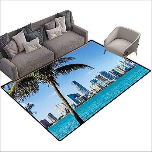 Soft Area Rug for Children Baby Coastal,Miami Downtown with Biscayne Bay Buildings and Palm Tree Panoramic Art,Sky Blue Aqua Green 36