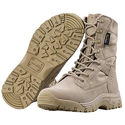 """FREE SOLDIER Men's Tactical Boots 8"""" inch Lightweight Combat Boots Durable Suede Leather Military Work Boots Desert Boots"""