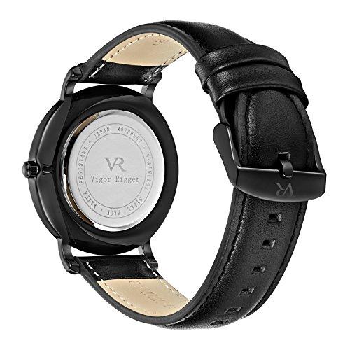 Vigor-Rigger-Mens-Leather-Stainless-Steel-Slim-Quartz-Watch-30M-Waterproof-Black-Wristwatch