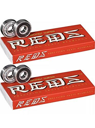 Bones Super Reds Bearings, 8 Pack set (2 x 8 Pack)