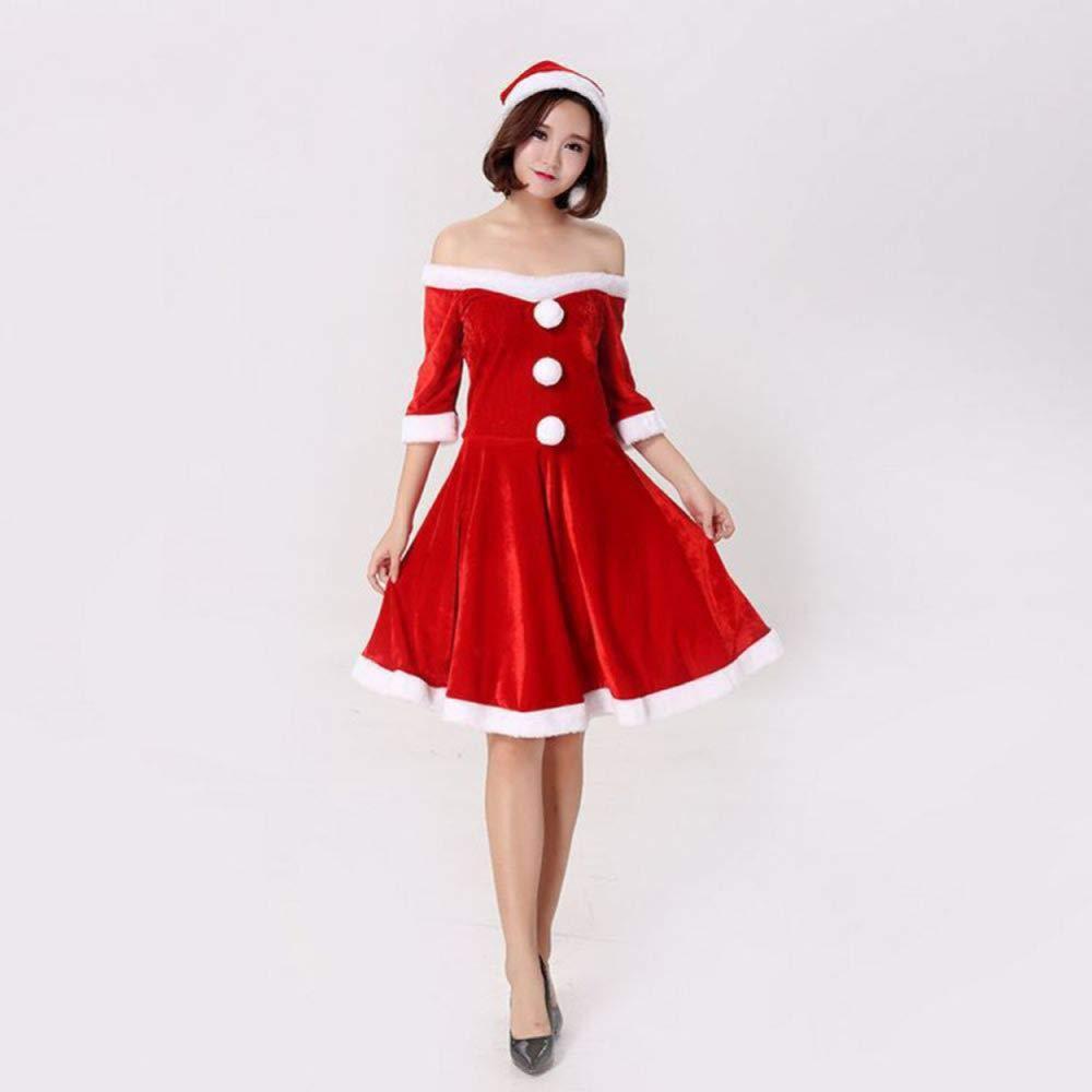 CVCCV Weihnachtskostüme Erwachsene Weihnachtskostüme Damen Weihnachtskleider Cosplay Kostüme Fasermaterial Freie Größe (Rot)