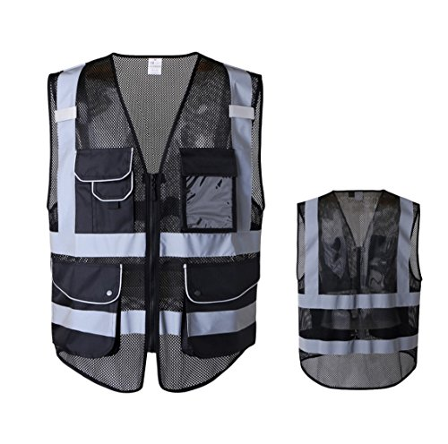 JKSafety 9 Pockets Class 2 High Visibility Zipper Front Safety Vest With Reflective Strips,HQ Breathable Mesh, Oxford Fabric for pocket materials. Black Meets ANSI/ISEA Standards (XX-Large, Black) …