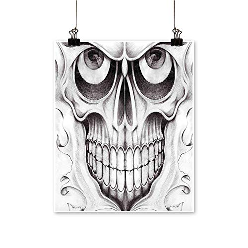 Hanging Painting The Dead Scary Skull Face Angry Expression Festive Art Image Black White Rich in Color,28