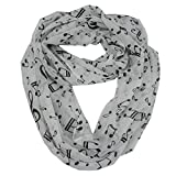 Women\'s Musical Note Print Chiffon Soft Infinity Loop Cowl Scarf White