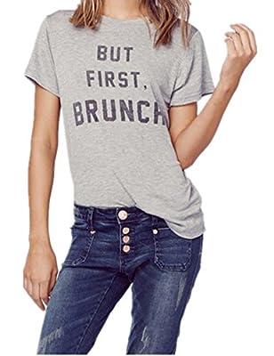 Haola Women Summer Street Words Print Tops Funny t Shirt Grey Tees