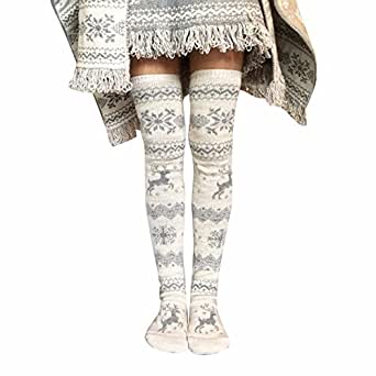 ce9371861bd Image Unavailable. Image not available for. Color  STORTO Women Christmas  Knit Long Socks Casual Reindeer Over Knee Warm Socks