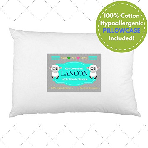 LANCON Kids Toddler Pillow with Pillowcase White 13 x 18, 100% Cotton, Premium Quality, Soft Hypoallergenic & Machine…