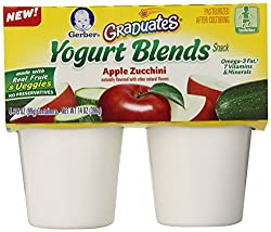 Gerber Graduates Yogurt Blends Snack, Apple Zucchini, 3.5 Ounce-4 Count (Pack of 6)