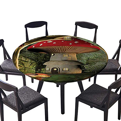 (Round Tablecloths mShroom House in Enchanted Forest Wih Ladybug and Snail Whimsical Tree Branches Machine Washable 40