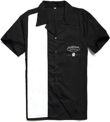 Candow Look 50s Vintage Contrast Color Bowling Shirts Black&White Hombre Camisa: Amazon.es: Ropa y accesorios