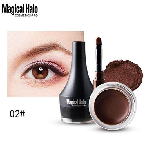 Creazy Mini Eyeliner Gel Cream With Brush Makeup Cosmetic Black Waterproof Eye Liner (Brown)