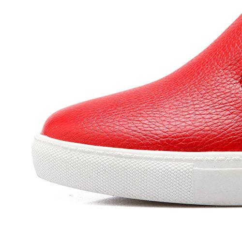 VogueZone009 Damen Rein PU Leder Mittler Absatz Rund Zehe Reißverschluss Pumps Schuhe Rot