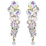 EVER FAITH Women's Austrian Crystal Tear Drop Clip-on Dangle Earrings Iridescent Clear AB Gold-Tone