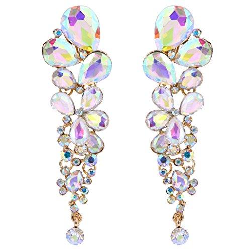 - EVER FAITH Women's Austrian Crystal Tear Drop Clip-on Dangle Earrings Iridescent Clear AB Gold-Tone