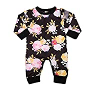 Newborn Baby Girl Floral Ruffled Romper Jumpsuit Long Sleeve Bodysuit 0-24M