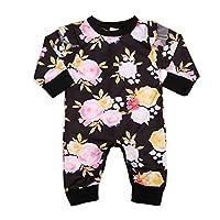 Newborn Baby Girl Floral Ruffled Romper Jumpsuit Long Sleeve Bodysuit 0-24M