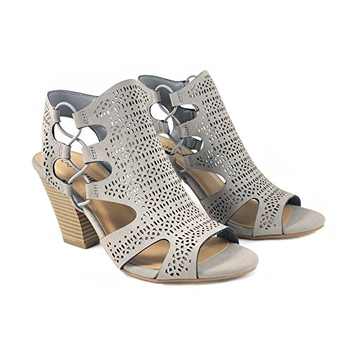 Image of City Classified Open Toe Perforated Lace up Elastic Side Stacked Chunky Heel Sandal