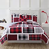 4pc Boys Classic Rectangle Plaid Theme Quilt Set Full Sized, Lumberjack Madras Checkered Lodge Hunting Themed, Cozy Warm Sporty, Vibrant Colors Red Grey Black, Tufted Bedding