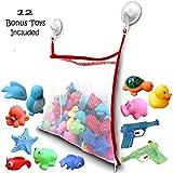 Bath Toy Organizer + 12 BPA-Free Bonus Baby Toys - Extra Large Mesh Net Storage Bag - Innovative Bottom Zipper and Hook Reinforcement (Red)