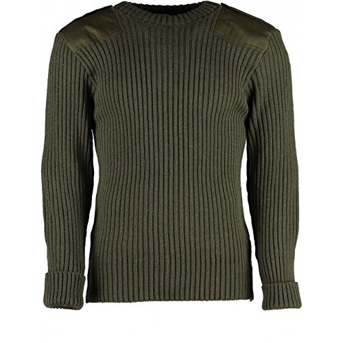 (British Commando Sweater Woolly Pully CREW Neck with Epaulets OD - XL)