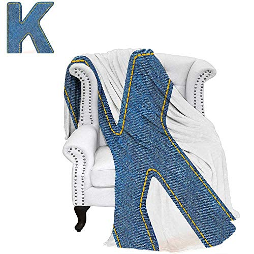 Sleeper Taggies (WilliamsDecor Letter K Blanket Alphabet Font Denim Style Blue Jean Texture Capitalized Character K Illustration Warm Microfiber All Season Blanket 60