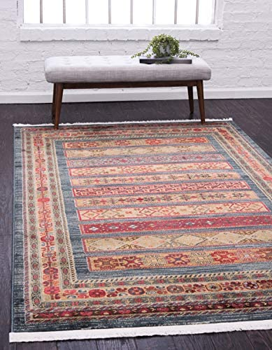 Unique Loom Fars Collection Tribal Modern Casual Blue Area Rug 10 0 x 13 0