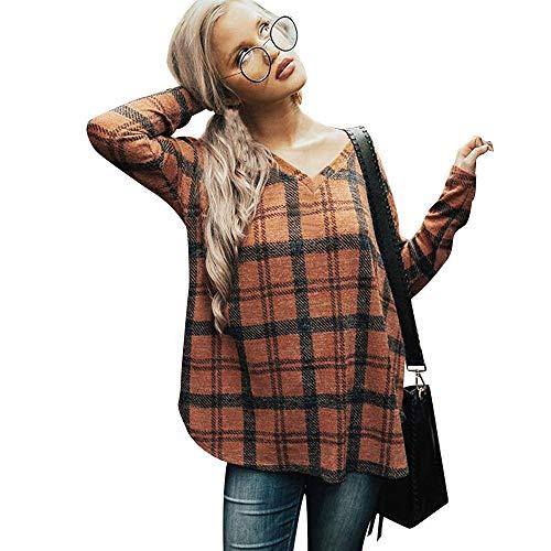 Gobao Women Blouse Fashion Casual Long Sleeve Printting Pullover Shirts Sweatshirt (XL, Yellow)