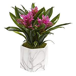 Nearly Natural 8139-PP Bromeliad Artificial Marble Finished Vase Silk Plants, Purple 7