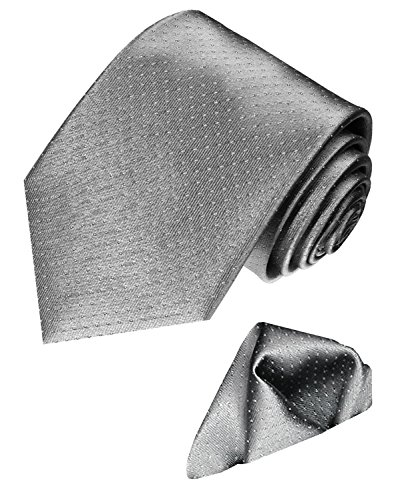 LORENZO CANA Italian Silk Business Tie Hanky Set Grey Silver Polka Dot 8449401 by LORENZO CANA