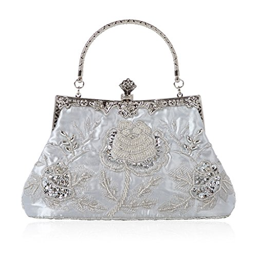 Party Evening Purse Vintage Red Beaded Prom Handbag Style Shoresu Floral Wedding Silver Bag Clutch xUSqvwp8