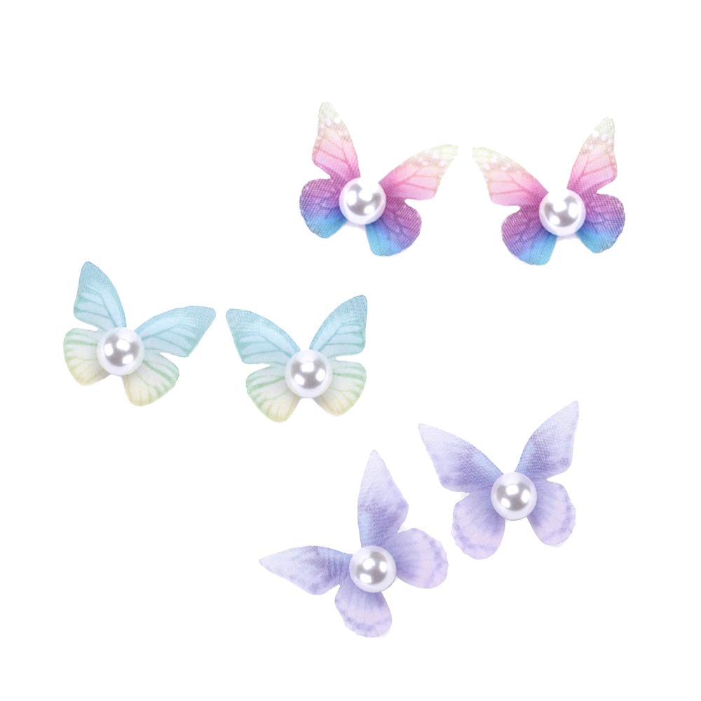 Elegant Butterfly Wing Simulated Pearl Stud Earings For Women Girls Valentines Day Gift