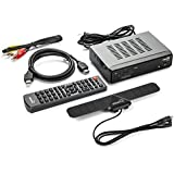 ViewTV AT-263 ATSC Digital TV Converter Box Bundle 25 Mile Flat HD Digital Indoor TV Antenna and HDMI Cable w/Recording PVR Function/HDMI Out/Coaxial Out/Composite Out/USB Input