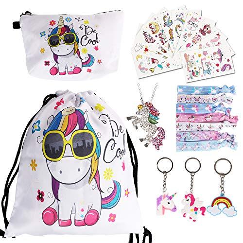 URAQT 23 Stück Einhorn Kordelzug Rucksack Geschenke für Mädchen/Make-up Tasche/Haargummis/Geldbörse/Schlüsselanhänger/Armbänder als Partygeschenk,Weiß