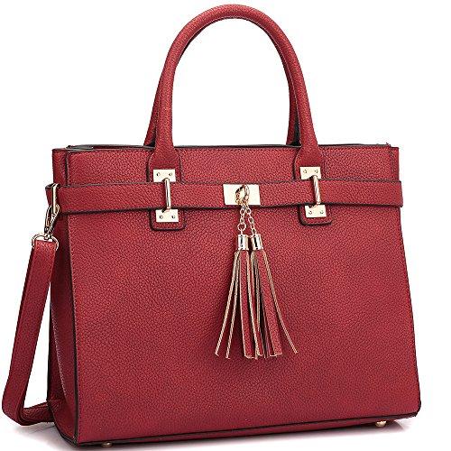 Dasein Designer Buffalo Faux Leather Fringe Tassel Satchel Handbag Purse Briefcase with Shoulder Strap -  XL-14-6848-RD