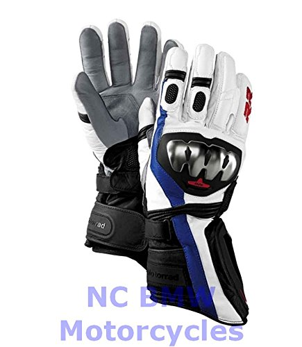 BMW Genuine Motorcycle DoubleR Riding Sport Leather Gloves White Blue 9-9.5 by BMW (Image #2)