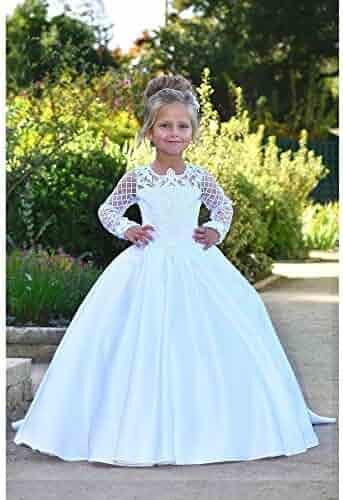 5e85fe3532 TriumphDress Girls White Pearl Adorned Helena Flower Girl Dress 5-10