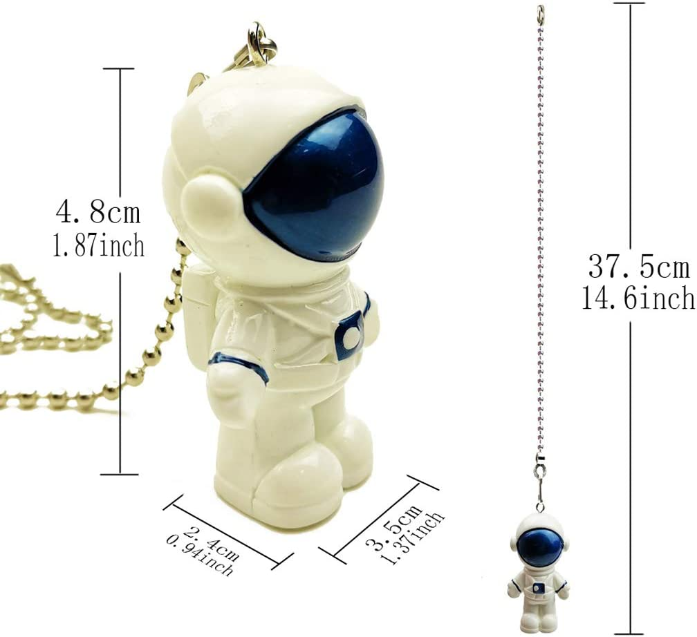 Hyamass 12 inch Mini Blue Spaceman Charm Pendant Ceiling Fan Danglers Fan Pulls Chain Extender with Ball Chain Connector