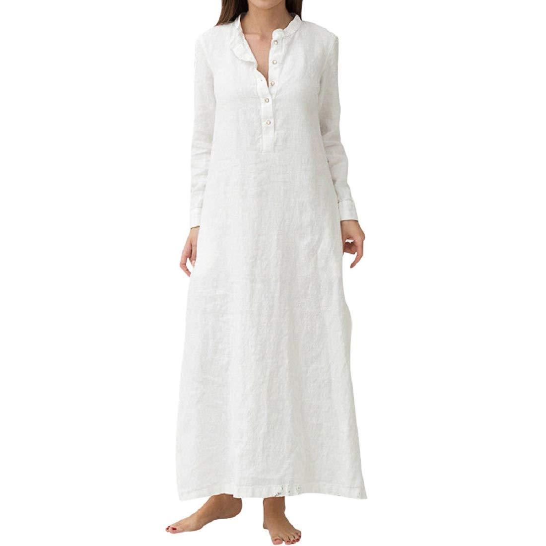 Soupliebe Sommerkleid Damen Maxi Kleid Frauen Baumwolle Langarm Einfarbig Casual Übergroße Lange Maxi Kleid Shirt HemdKleid