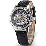 AMPM24 New Silver Skeleton Analogue Black Leather Mechanical Men's Watch