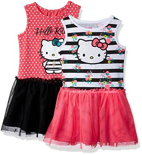 Hello Kitty Big Girls' 2 Pack Embellished Tutu Dresses, Pink, 12