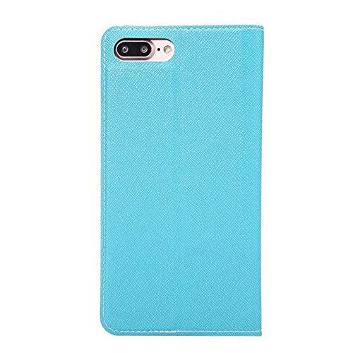 SRY-Bolsa para teléfono móvil Cruz Lines Textura ultra delgado Slm estilo PU cubierta de cuero de la caja de protección con ranuras para tarjetas y Kickstand para el iPhone 7 Plus ( Color : Red ) Blue