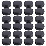 Foraineam 24 Pack 4 oz Screw Lid Round Tins Aluminum Empty Tins Metal Storage Tin Jars Spice Containers Travel Tin Cans