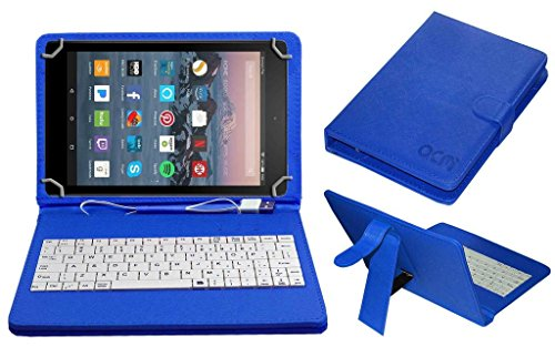 ACM USB Keyboard Cover Stand with Micro USB OTG for Amazon Fire Tablet 7 #34;  Blue